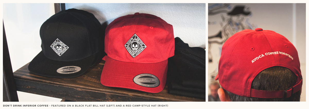 Black flat bill and red camp-style AVOCA branded hats